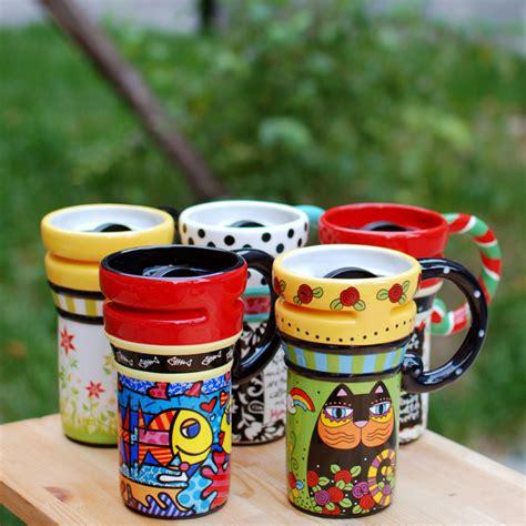 colorful big coffee mug with lid luulla