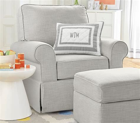 upholstered chair with ottoman comfort upholstered glider ottoman pottery barn kids