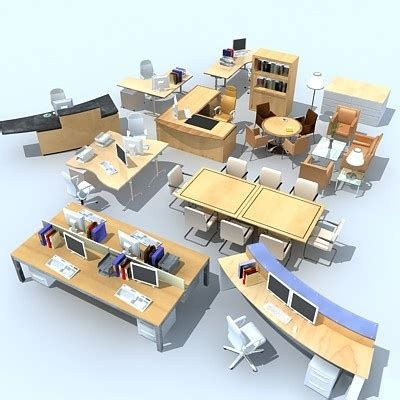 detailed office furniture set  high definition renders