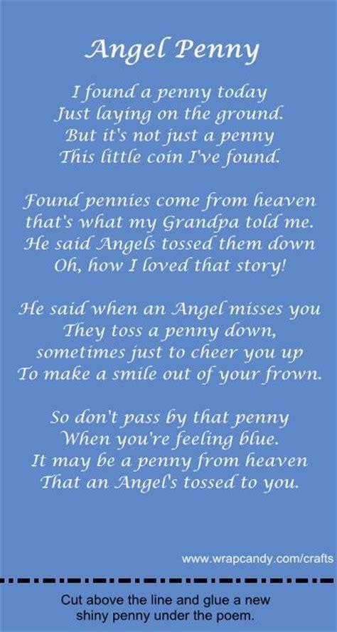 angel pennies  heaven angel penny gift poem  card