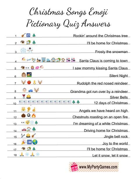 Guess the song emoji quiz! Free Printable Christmas Songs Emoji Pictionary Quiz ...
