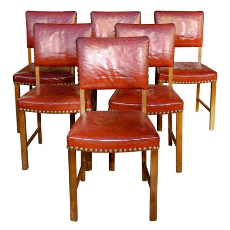 set   red leather dining chairs  stdibs