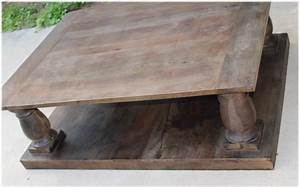 antique replica solid wood coffee table w pillars aged With aged wood coffee table