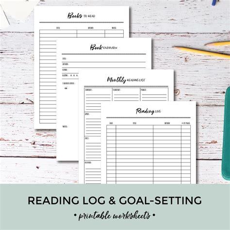 printable reading log goal setting worksheets pretty