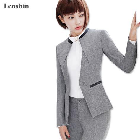 Lenshin Piece Set Women Pant Suit Uniform Designs Formal Style Office Lady Business Career