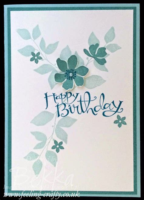stylish blue birthday card  summer silhouettes