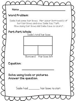 Use with the class as a review game for addition, subtraction, multiplication, division, and money word problems. 1st Grade Word Problems - Part Part Whole by Math Lady in ...