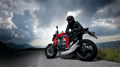 Cb650f 4k Wallpapers by облака гонщик природа дорога небо мотоцикл обои для