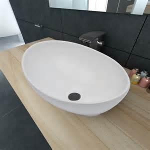 vasque en pas cher la boutique en ligne luxueuse vasque 224 poser en c 233 ramique ovale blanche 40 x 33 cm vidaxl fr