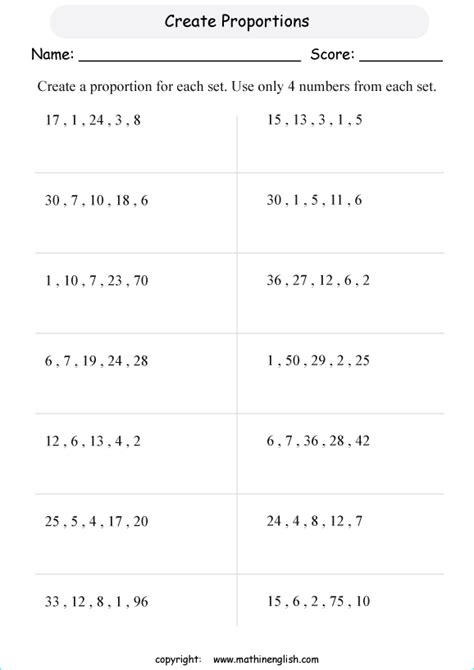creating proportion printable grade  math worksheet