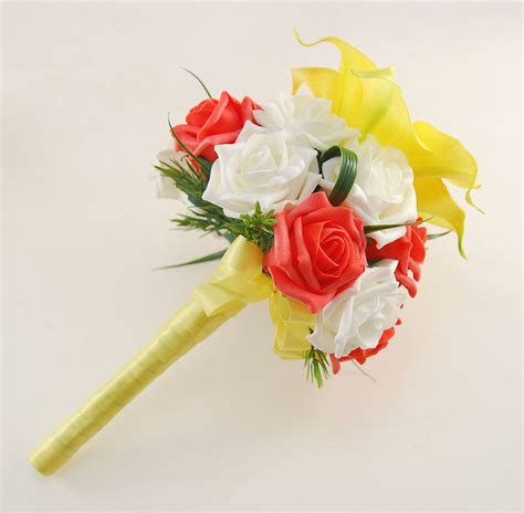 Yellow Calla Lily Ivory And Coral Rose Amy Wedding Flower