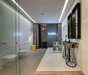 Salle De Bain Loft : salle de bain contemporaine avec une baignoire en verre ~ Dailycaller-alerts.com Idées de Décoration