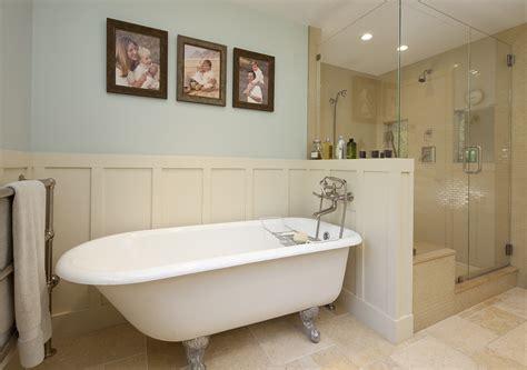 bathroom with wainscoting ideas innovative simplehuman shower caddy in bathroom