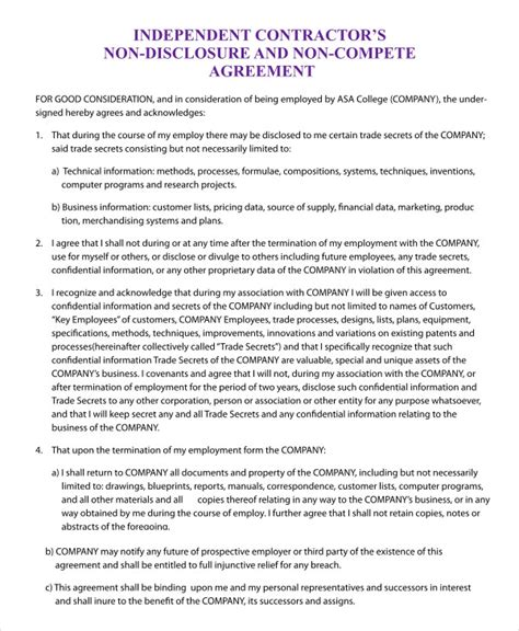 Business Templates Noncompete Agreement by Non Compete Agreement Template 9 Free Sle Exle