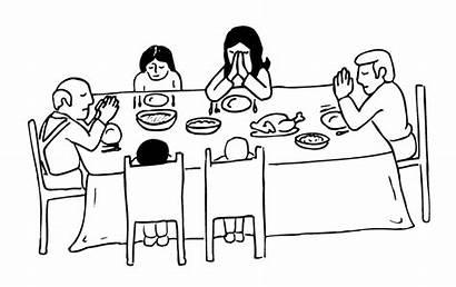 Together Dinner Table Church Before Prays Prayer