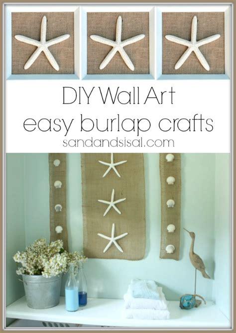 coastal bathroom wall decor diy wall coastal burlap craft sand and sisal