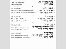 Temple Solel The Four Questions