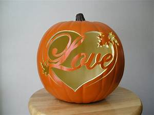 Love, With, Leaves, Carved, Decorative, Fall, Wedding, Pumpkin