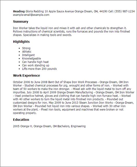 18612 my resume template professional iron worker templates to showcase your talent