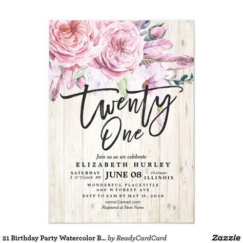 21 Birthday Party Watercolor Boho Floral Feathers