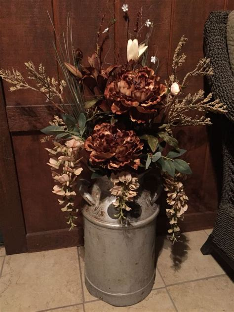 milk  floral arrangement rustic decor milk