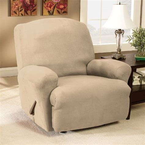stretch suede wing chair recliner slipcover sure fit stretch suede recliner slipcover medium taupe