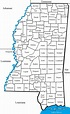 The 82 counties in the state of Mississippi, USA (modified ...