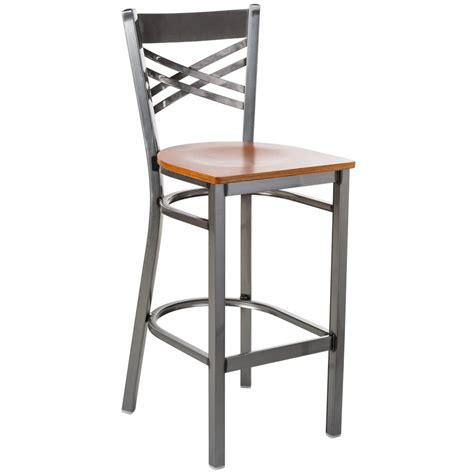 lancaster table seating clear coat steel cross back bar