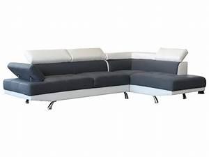 Canapé Droit 5 Places : canap d 39 angle sophia 5 places blanc et gris ~ Premium-room.com Idées de Décoration