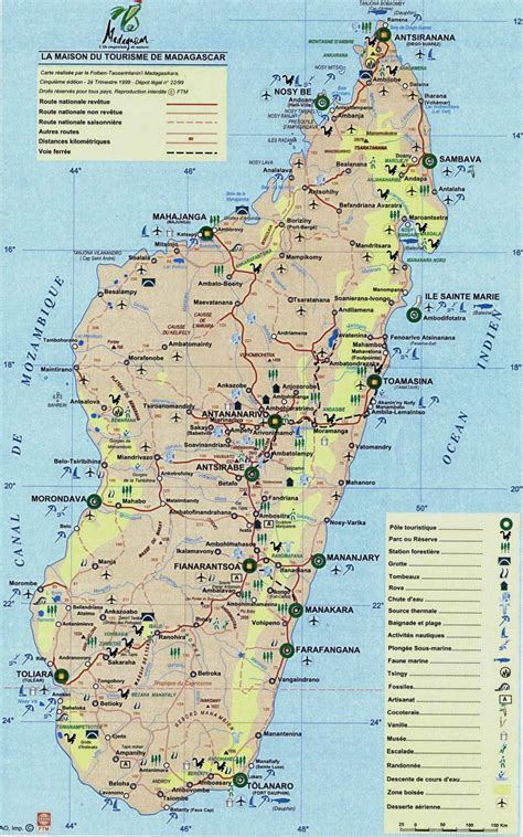 detailed tourist map  madagascar madagascar detailed