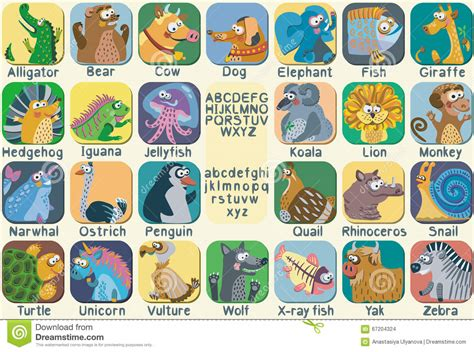 vector color zoo alphabet  cute animals stock vector