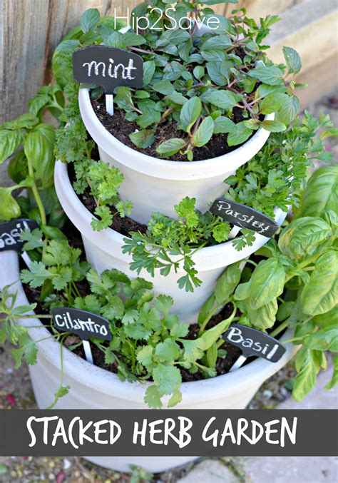diy stacked herb garden hip2save