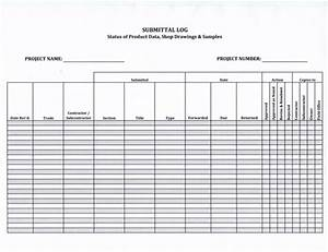 submittal log form 599 download now With shop drawing log template