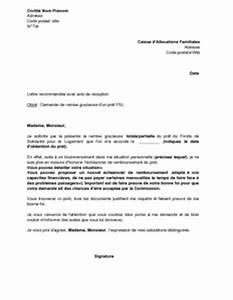 Demande De Pret Caf : exemple gratuit de lettre demande remise gracieuse un pr t fonds solidarit logement fsl ~ Gottalentnigeria.com Avis de Voitures