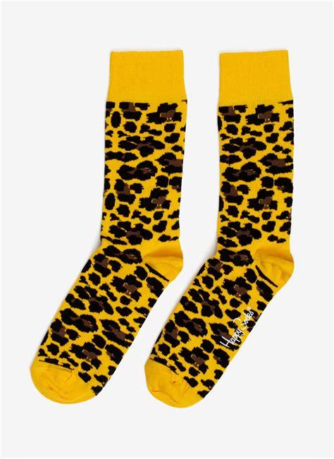 Printed Socks lyst happy socks leopard printed cottonblend socks in yellow