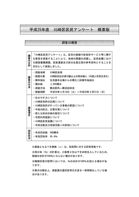 Kawasaki Jp by 川崎市川崎区 平成25年度川崎区区民アンケート調査結果
