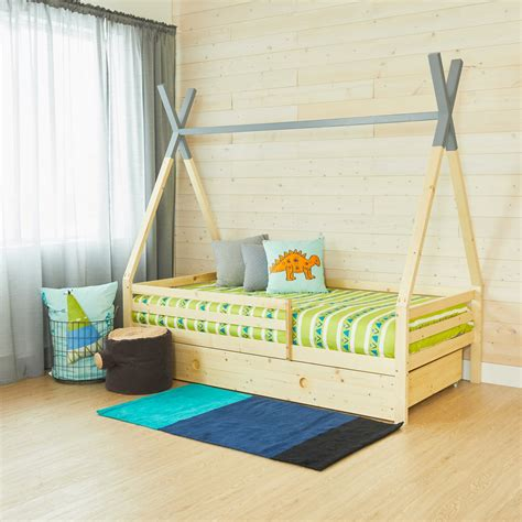 The bedroom set is crafted with durable rubberwood and mdf with wood grain veneer, allowing the twin size bed frame to create a lasting mattress foundation for memory foam, innerspring, latex, and hybrid mattresses. Teepee Bed With Rails - GREY TOP - Twin Size | Coco ...
