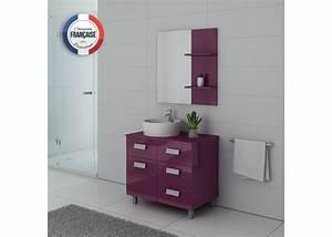 Meuble Salle De Bain Asymétrique : ensemble meuble salle de bain meuble salle de bain 1 vasque aubergine milan au ~ Nature-et-papiers.com Idées de Décoration