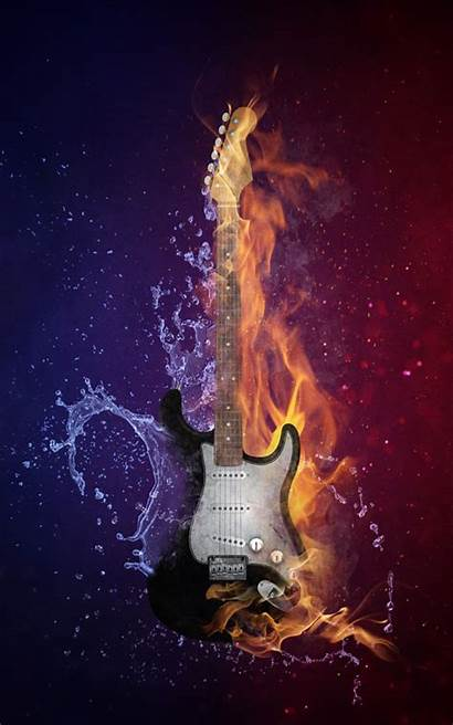 Fire Guitar Water Mobile 4k Ultra Wallpapers