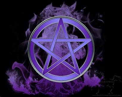 Pentacle Blood Flames Wiccan Huntress Pentagram Elements