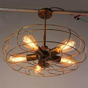 Industrial, Ceiling, Light, Vintage, Mount, Metal, Metal, Fan, Wall, Lamp, Hanging, Chandelier, Lighting