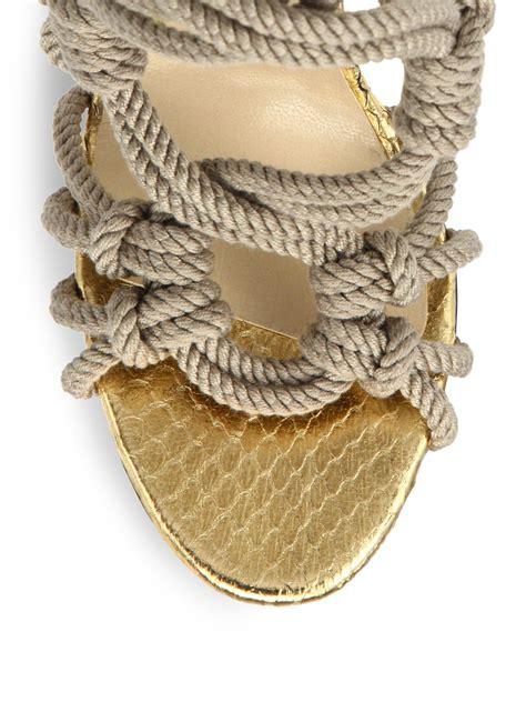 jimmy choo keane braided rope sandal boots  natural lyst