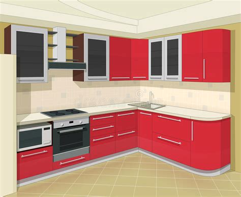 3d design kitchen kitchen interior with furniture royalty free stock image 1083