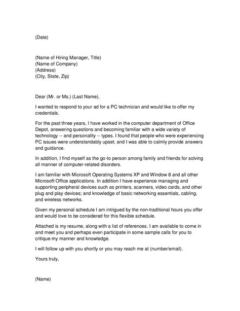 Cover Letter For Network Technician by Pc Technician Cover Letter
