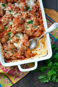 Dump and Go Italian Meatball and Rice Casserole