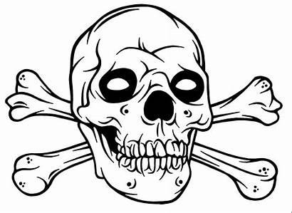 Skull Coloring Bones Colouring Crossbones Cool Drawings