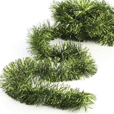metallic green tinsel garland christmas and winter sale