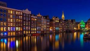 canal, house, amsterdam, building, netherlands, during