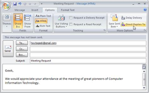 Office 365 Outlook Won T Send Emails by Send Email Replies To Another Recipient In Outlook 2007