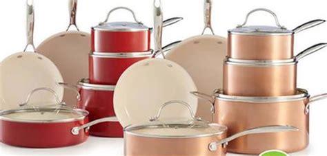 kohls food network  pc nonstick ceramic cookware set  copper  red  reg